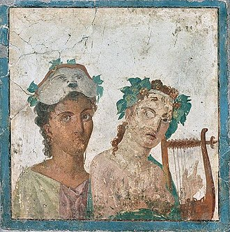 Lyre - A Roman fresco from Pompeii, 1st century AD, depicting a man in a theatre mask and a woman wearing a garland while playing a lyre; it is now housed in the National Archaeological Museum (Museo Archeologico Nazionale) of Naples, Italy.