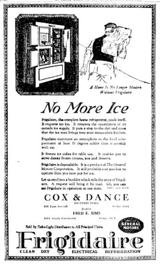 """Frigidaire - 1922 Frigidaire """"iceless"""" refrigerator newspaper ad."""