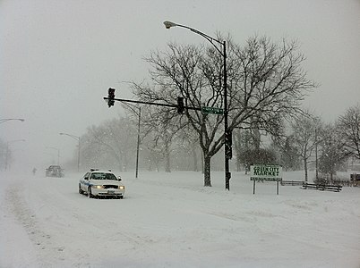 Fullerton ave blocked by police Feb 2 2011 storm.JPG