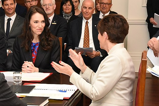 Jacinda Ardern is appointed as an executive councillor and a Cabinet minister by Governor-General Dame Patsy Reddy (2017). A minister is first appointed as an executive councillor before receiving a warrant for their ministerial portfolio(s). GGNZ Swearing of new Cabinet - Jacinda Ardern.jpg