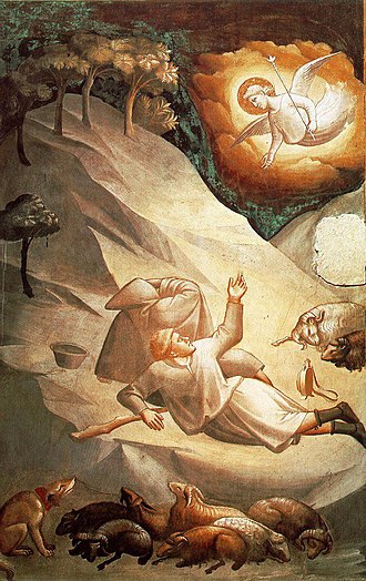 Taddeo Gaddi - The Angelic Announcement to the Shepherds (1332-38). Fresco, the Baroncelli Chapel, Santa Croce, Florence