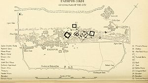 Fatehpur Sikri - General Plan of Fatehpur Sikri City in 1917