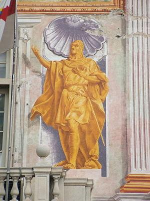 Guglielmo Embriaco - Guglielmo Embriaco portrayed on the main façade of the Palazzo San Giorgio, Genoa