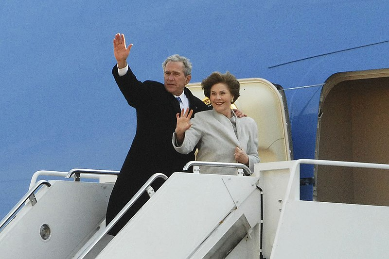 File:George & Laura Bush board Air Force One 1-20-09 hires 091220-F-0194C-001a.jpg