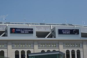 George Steinbrenner - Steinbrenner and Bob Sheppard memorialized on the facade of Yankee Stadium