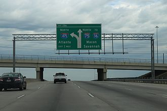 Interstate 475 (Georgia) - I-75 northbound sign at Hartley Bridge Road for I-475 north in Macon