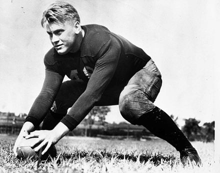 Ford during practice as a center on the University of Michigan football team, 1933 Gerald Ford on field at Univ of Mich, 1933.jpg