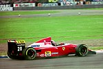 Gerhard Berger - Ferrari F93A during practice for the 1993 British Grand Prix (33530348942).jpg
