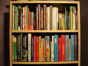 Kids bookshelf with German and American childr...