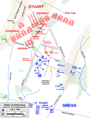 Battle Of Gettysburg Third Day Cavalry Battles Wikipedia - Gettysburg on a map of the us