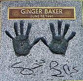 Le impronte delle mani di Ginger Baker nella Hollywood Rock Walk of Fame