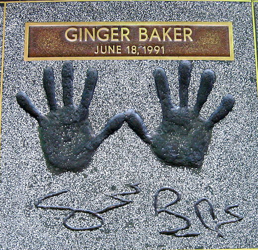 Ginger Baker's handprints at the Hollywood Rock Walk of Fame Ginger Baker-handprints.jpg