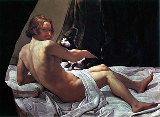 Young Naked Man on a Bed with Cat