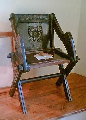 Bishop's Palace, Wells - The original Glastonbury chair