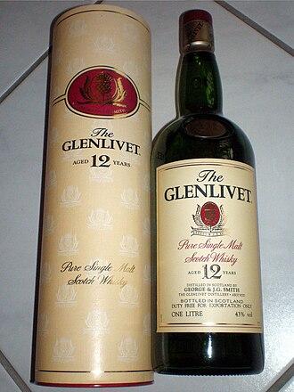 The Glenlivet distillery - A bottle of The Glenlivet 12 Year Old.