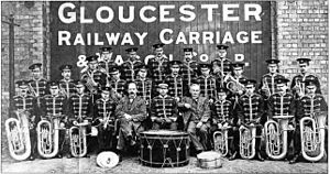 Gloucester Railway Carriage and Wagon Company - The company band in 1916.