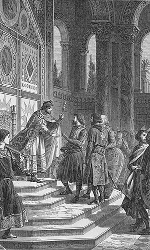 Eustace III, Count of Boulogne - Eustace (shown with white hair) with his brothers Godfrey and Baldwin meeting with Byzantine emperor Alexius I Comnenus
