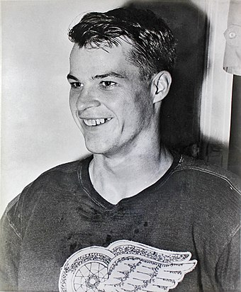 Making his NHL debut in 1946, Gordie Howe played alongside Sid Abel and Ted Lindsay from 1947 to 1951, forming the Production Line. Gordie Howe 1946-47.jpg
