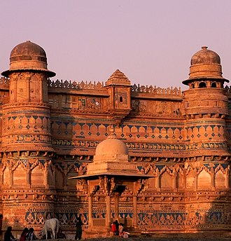 Gwalior - The Maan Mandir Palace at Gwalior Fort.