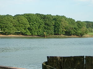 River Hamble - The Yellow X marks the site of the wreck of HMS Grace Dieu