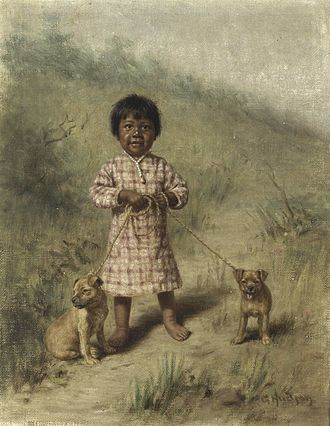 Grace Hudson - Greenie with two yellow puppies, 1896