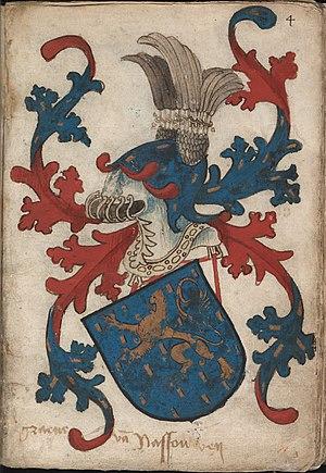 Graeue van Nassouwen - Graaf van Nassau - Count of Nassau - Wapenboek Nassau-Vianden - KB 1900 A 016, folium 04r