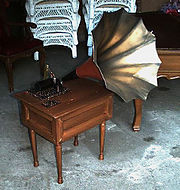 "A theatrical prop grammophone used in a professional production of ""My Fair Lady"""