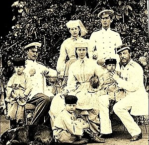 Grand Duke Konstantin Nikolayevich of Russia - Grand Duke Konstantin Nikolayevich with his family (from left to right): Grand Duke Dmitry Konstantinovich; an unidentified aide; on the floor Grand Duke Konstantin Konstantinovich; sitting Grand Duchess Alexandra and Grand Duke Konstantin Nikolayevich holding Grand Duke Vyacheslav; standing behind: Grand Duchess Olga Konstantinovna and Grand Duke Nikolay Konstantinovich