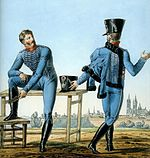 Two French cavalrymen in sky blue hussar uniforms