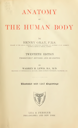 The cover of the book after which Grey's Anatomy was named. Gray's Anatomy 20th edition (1918)- Title page.png