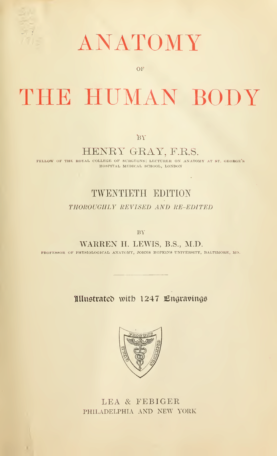 Gray's Anatomy 20th edition (1918)- Title page