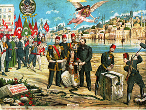 "Young Turks - A lithograph celebrating the Young Turk Revolution, featuring the sources of inspiration of the movement, Midhat Pasha, Prince Sabahaddin, Fuad Pasha and Namık Kemal, military leaders Niyazi Bey and Enver Pasha, and the slogan liberty, equality, fraternity (""hürriyet, müsavat, uhuvvet"")"