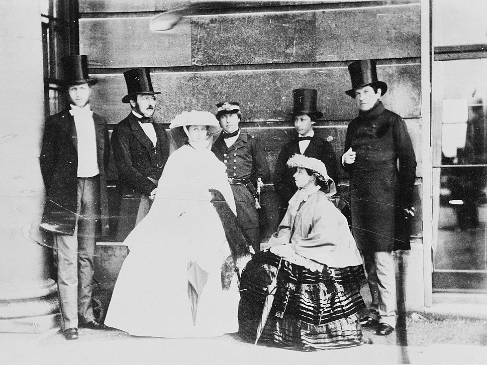 Group photograph of Queen Victoria, Prince Albert, Albert Edward, Prince of Wales, Count of Flanders, Princess Alice, Duke of Oporto, and King Leopold I of the Belgians, 1859