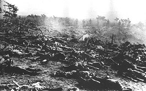 Woodrow W. Keeble - Dead soldiers from the Japanese 2nd Division litter the Guadalcanal battlefield after the failed assaults on October 25, 1942 against positions held by the 7th Marine Regiment and the 164th Infantry Regiment of the North Dakota National Guard.