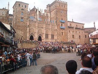 Guadalupe, Cáceres - Guadalupe celebrating the Fiesta Nacional de España in 2003
