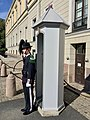 Guardsman soldier (gardist skiltvakt) of the Norwegian Royal Guards ( H M K Garde) and sentry box (skilderhus) by the Royal Palace (Slottet) in Oslo, Norway 2018-09-17 7878.jpg