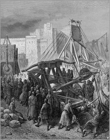 Gustave Doré (1832-1883), The Crusaders war machinery, via Wikimedia Commons