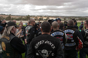Outlaw motorcycle club - Motorcycle club members meet at a run in Australia in 2009.