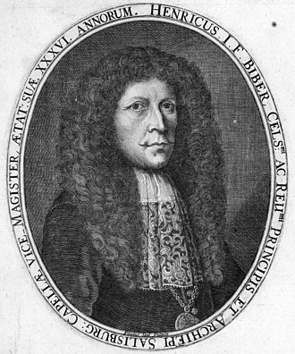 Heinrich Ignaz Franz Biber - A portrait of the composer, engraved by Paulus Seel for Biber's Sonatae Violino solo (1681)
