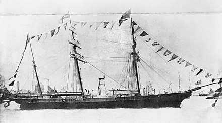 HMCSS Victoria in 1867. In 1861, Victoria was dispatched to assist the New Zealand colonial government during the First Taranaki War. HMCSS Victoria 300060.jpg