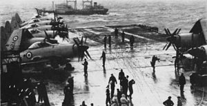 HMS Eagle (R05) flight deck with Wyverns 1956.jpg