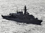 HMS Richmond with Dutch NH-90 Helicopter (9545766439).jpg