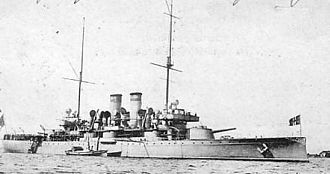 Jack (flag) - Union jack of Sweden and Norway flown by Swedish armored cruiser Wasa in 1903