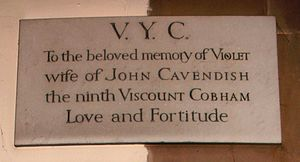 John Lyttelton, 9th Viscount Cobham - St John the Baptist Church, Hagley, memorial to Violet, wife of the 9th Viscount Cobham