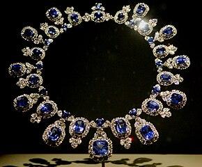 Sapphire Diamond Necklace White Gold