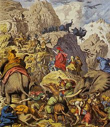 A painting of Hannibal crossing the Alps with elephants