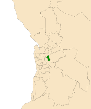 Electoral district of Hartley - Electoral district of Hartley (green) in the Greater Adelaide area