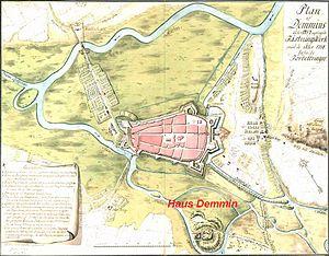 Demmin - Map of Haus Demin, 1758