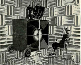 Tension grid - Image: Hearing acuity test in anechoic chamber 1949