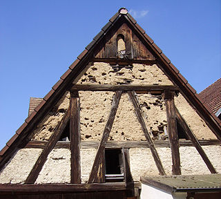 Wattle and daub building technique using woven wooden supports packed with clay or mud